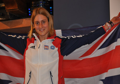 Louise proudly displaying the GB flag following international success